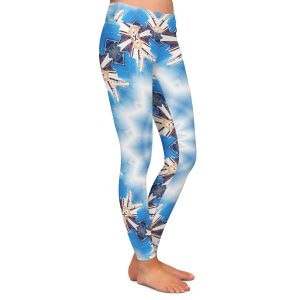 Casual Comfortable Leggings | Pam Amos - Kaleidoscope Blue | Pattern mandala circular geometry