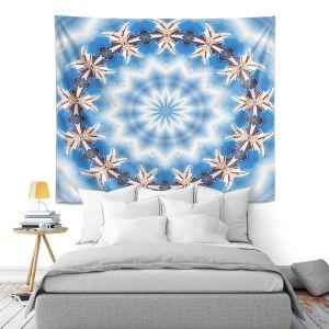 Artistic Wall Tapestry | Pam Amos - Kaleidoscope Blue | Pattern mandala circular geometry