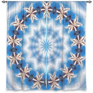 Decorative Window Treatments | Pam Amos - Kaleidoscope Blue | Pattern mandala circular geometry