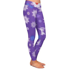 Casual Comfortable Leggings | Pam Amos - Lace Flowers in a Row Purple | pattern flower nature