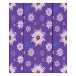 Decorative Wood Plank Wall Art   Pam Amos - Lace Flowers in a Row Purple   pattern flower nature