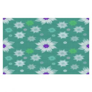 Decorative Floor Covering Mats   Pam Amos - Lace Flowers in a Row Teal   pattern flower nature