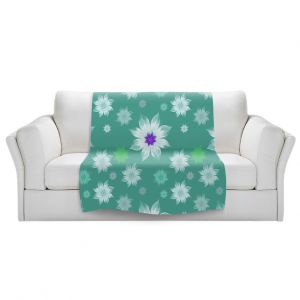 Artistic Sherpa Pile Blankets | Pam Amos - Lace Flowers in a Row Teal | pattern flower nature
