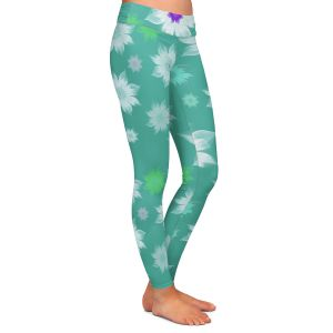 Casual Comfortable Leggings | Pam Amos - Lace Flowers in a Row Teal | pattern flower nature