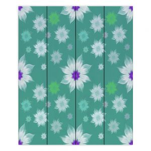 Decorative Wood Plank Wall Art | Pam Amos - Lace Flowers in a Row Teal | pattern flower nature