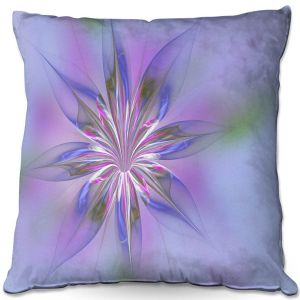 Throw Pillows Decorative Artistic | Pam Amos - Lacey Flower Pink Blues | digital flower abstract