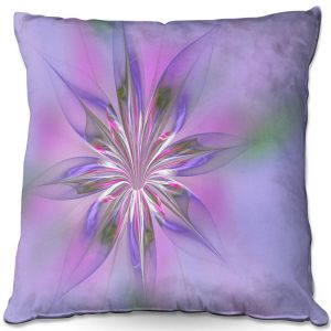 Decorative Outdoor Patio Pillow Cushion | Pam Amos - Lacey Flower Purple Pinks | digital flower abstract