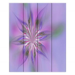Decorative Wood Plank Wall Art | Pam Amos - Lacey Flower Purple Pinks | digital flower abstract