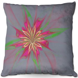 Decorative Outdoor Patio Pillow Cushion   Pam Amos - Lacey Flower 2   digital flower abstract