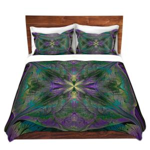 Artistic Duvet Covers and Shams Bedding | Pam Amos - Leafy Mandala Jade Violet | geometric circle pattern nature