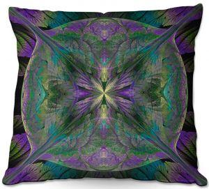 Decorative Outdoor Patio Pillow Cushion | Pam Amos - Leafy Mandala Jade Violet | geometric circle pattern nature