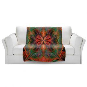 Artistic Sherpa Pile Blankets | Pam Amos - Leafy Mandala Red Green | geometric circle pattern nature