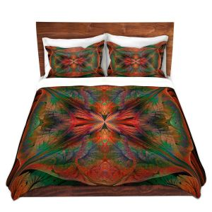 Artistic Duvet Covers and Shams Bedding | Pam Amos - Leafy Mandala Red Green | geometric circle pattern nature