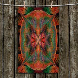 Unique Bathroom Towels | Pam Amos - Leafy Mandala Red Green | geometric circle pattern nature