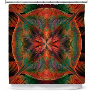 Premium Shower Curtains | Pam Amos - Leafy Mandala Red Green | geometric circle pattern nature