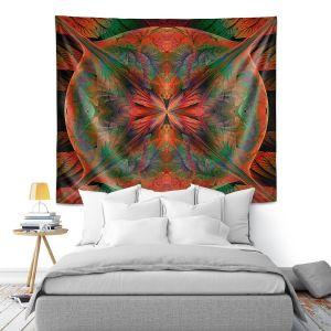 Artistic Wall Tapestry   Pam Amos - Leafy Mandala Red Green   geometric circle pattern nature