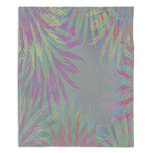 Decorative Fleece Throw Blankets   Pam Amos - Leaves 3   digital nature silhouette