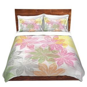 Artistic Duvet Covers and Shams Bedding | Pam Amos - Lemon Scented | Flower pattern abstract floral