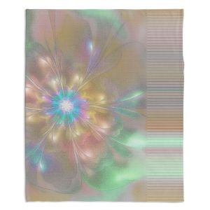 Artistic Sherpa Pile Blankets | Pam Amos - Lusciously Soft | Floral flower abstract pattern