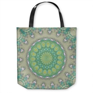 Unique Shoulder Bag Tote Bags | Pam Amos - Opal Slice | Pattern mandala circular geometry