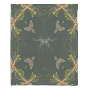 Decorative Fleece Throw Blankets | Pam Amos - Orchid Green | Floral flower abstract pattern