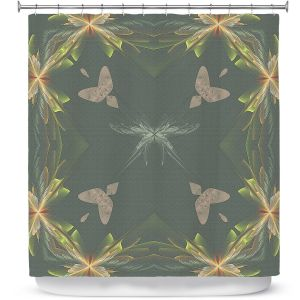 Premium Shower Curtains | Pam Amos - Orchid Green | Floral flower abstract pattern