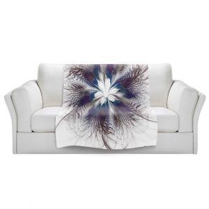Artistic Sherpa Pile Blankets   Pam Amos - Peacock Feather Flower 3   Bird nature mandala circular geometric
