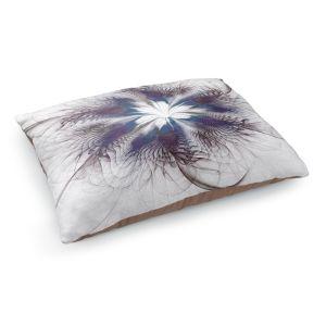 Decorative Dog Pet Beds | Pam Amos - Peacock Feather Flower 3 | Bird nature mandala circular geometric
