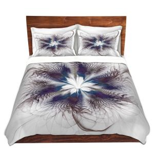 Artistic Duvet Covers and Shams Bedding | Pam Amos - Peacock Feather Flower 3 | Bird nature mandala circular geometric