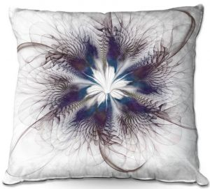 Throw Pillows Decorative Artistic | Pam Amos - Peacock Feather Flower 3 | Bird nature mandala circular geometric