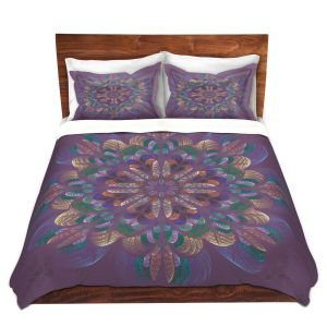 Artistic Duvet Covers and Shams Bedding | Pam Amos - Quilted Flower Claret | mandala circle pattern