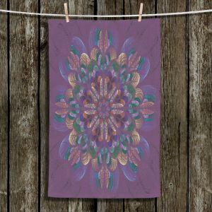 Unique Bathroom Towels | Pam Amos - Quilted Flower Claret | mandala circle pattern