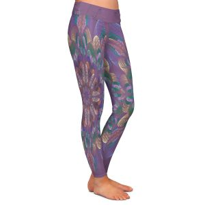 Casual Comfortable Leggings | Pam Amos - Quilted Flower Claret | mandala circle pattern