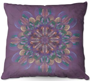 Throw Pillows Decorative Artistic | Pam Amos - Quilted Flower Claret | mandala circle pattern