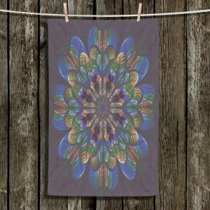Unique Hanging Tea Towels | Pam Amos - Quilted Flower Eggplant | mandala circle pattern