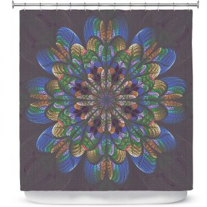 Premium Shower Curtains | Pam Amos - Quilted Flower Eggplant | mandala circle pattern
