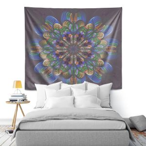 Artistic Wall Tapestry | Pam Amos - Quilted Flower Eggplant | mandala circle pattern