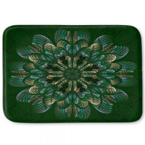 Decorative Bathroom Mats | Pam Amos - Quilted Flower Mint Jelly | mandala circle pattern
