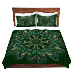 Artistic Duvet Covers and Shams Bedding   Pam Amos - Quilted Flower Mint Jelly   mandala circle pattern