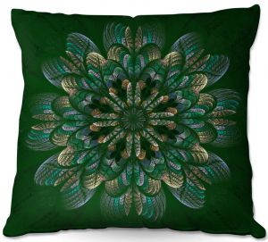 Throw Pillows Decorative Artistic | Pam Amos - Quilted Flower Mint Jelly | mandala circle pattern