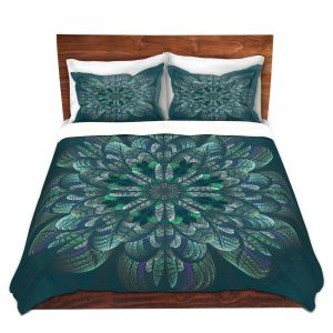 Artistic Duvet Covers and Shams Bedding | Pam Amos - Quilted Flower Pine | mandala circle pattern