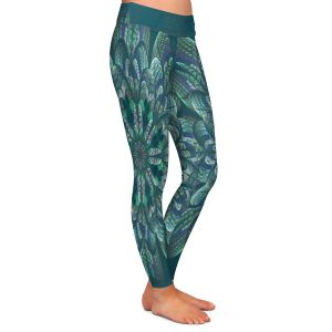 Casual Comfortable Leggings | Pam Amos - Quilted Flower Pine | mandala circle pattern