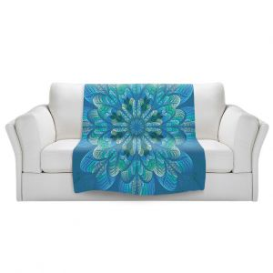 Artistic Sherpa Pile Blankets | Pam Amos - Quilted Flower Royal Blue | mandala circle pattern