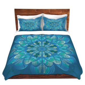 Artistic Duvet Covers and Shams Bedding | Pam Amos - Quilted Flower Royal Blue | mandala circle pattern