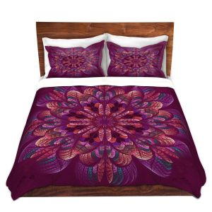 Artistic Duvet Covers and Shams Bedding | Pam Amos - Quilted Flower Royal | mandala circle pattern