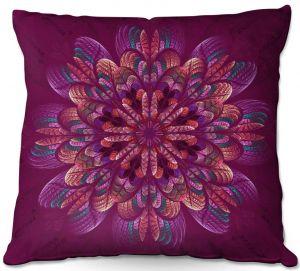 Throw Pillows Decorative Artistic | Pam Amos - Quilted Flower Royal | mandala circle pattern