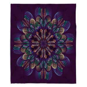Artistic Sherpa Pile Blankets   Pam Amos - Quilted Flower   Circular nature floral mandala geometric pattern