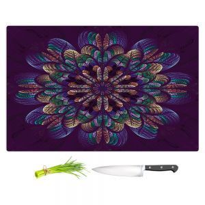 Artistic Kitchen Bar Cutting Boards | Pam Amos - Quilted Flower | Circular nature floral mandala geometric pattern