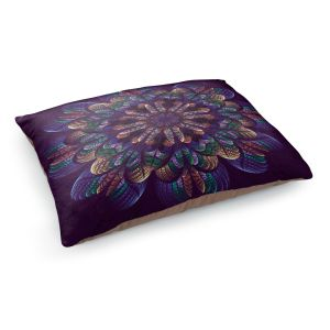 Decorative Dog Pet Beds | Pam Amos - Quilted Flower | Circular nature floral mandala geometric pattern