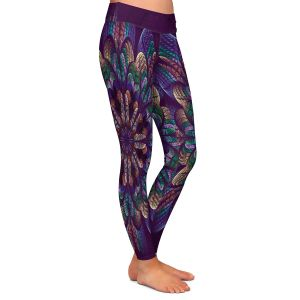Casual Comfortable Leggings | Pam Amos - Quilted Flower | Circular nature floral mandala geometric pattern